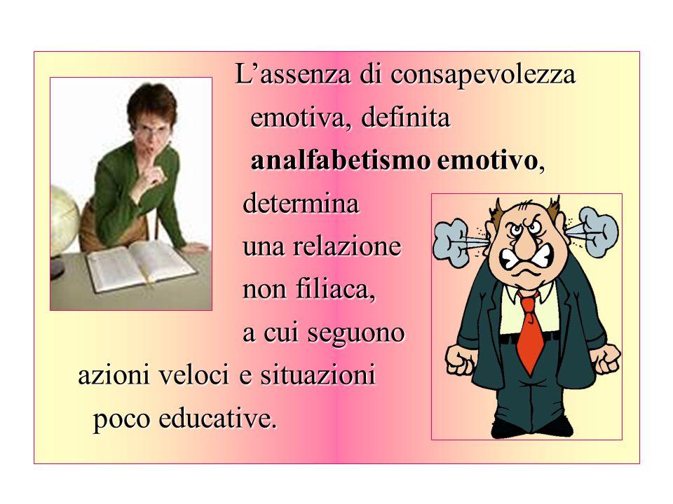 L'assenza di consapevolezza emotiva, definita emotiva, definita analfabetismo emotivo, analfabetismo emotivo, determina determina una relazione una re