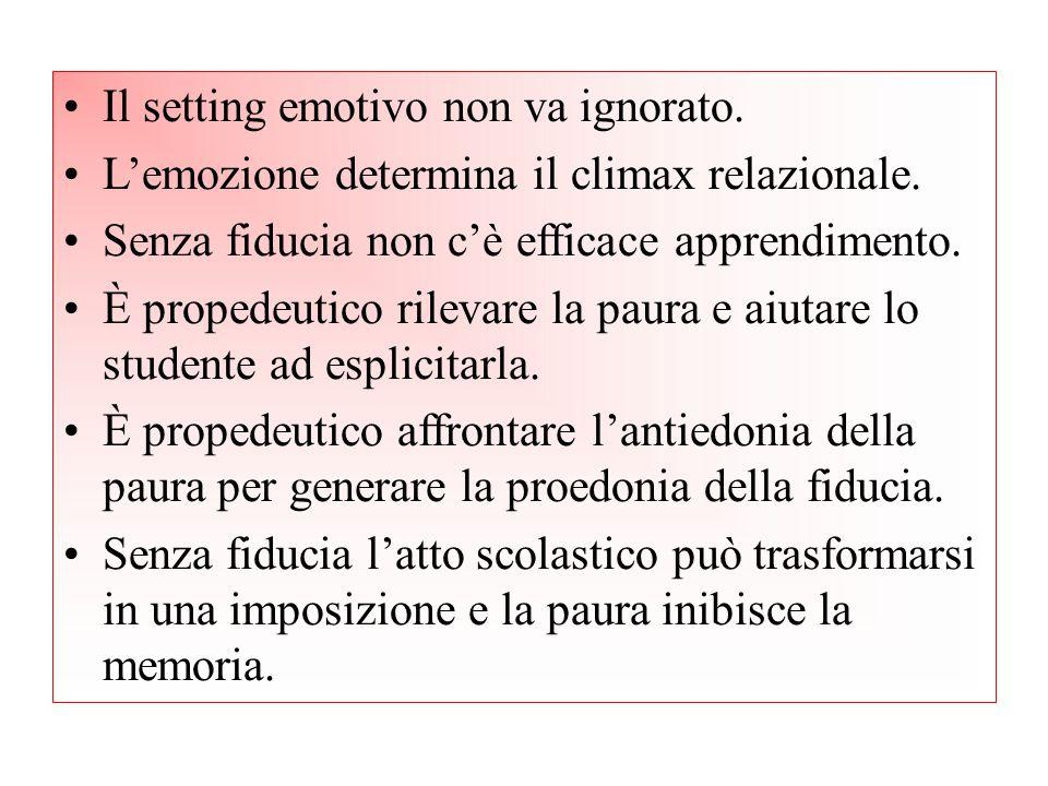 Il setting emotivo non va ignorato. L'emozione determina il climax relazionale. Senza fiducia non c'è efficace apprendimento. È propedeutico rilevare