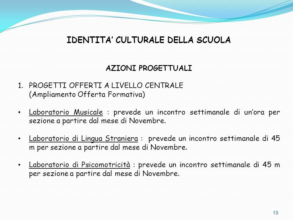 IDENTITA' CULTURALE DELLA SCUOLA AZIONI PROGETTUALI 1.PROGETTI OFFERTI A LIVELLO CENTRALE (Ampliamento Offerta Formativa) Laboratorio Musicale : preve