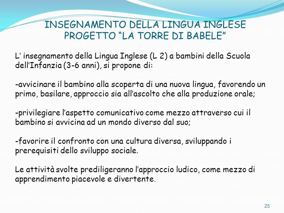 """INSEGNAMENTO DELLA LINGUA INGLESE PROGETTO """"LA TORRE DI BABELE"""" L' insegnamento della Lingua Inglese (L 2) a bambini della Scuola dell'Infanzia (3-6 a"""