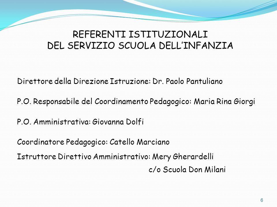 Direttore della Direzione Istruzione: Dr. Paolo Pantuliano P.O. Responsabile del Coordinamento Pedagogico: Maria Rina Giorgi P.O. Amministrativa: Giov