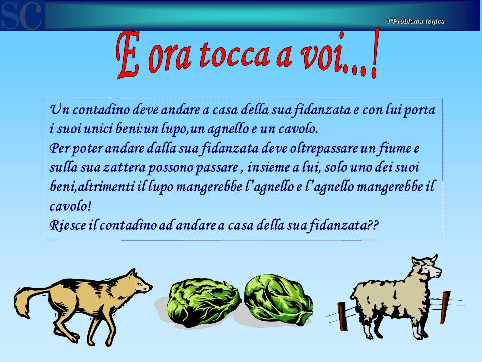 1°Problema logica Un contadino deve andare a casa della sua fidanzata e con lui porta i suoi unici beni:un lupo,un agnello e un cavolo.
