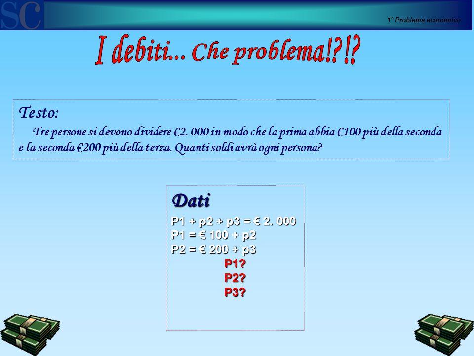1° Problema economico Dati P1 + p2 + p3 = € 2. 000 P1 = € 100 + p2 P2 = € 200 + p3 P1?P2?P3? Testo: Tre persone si devono dividere €2. 000 in modo che