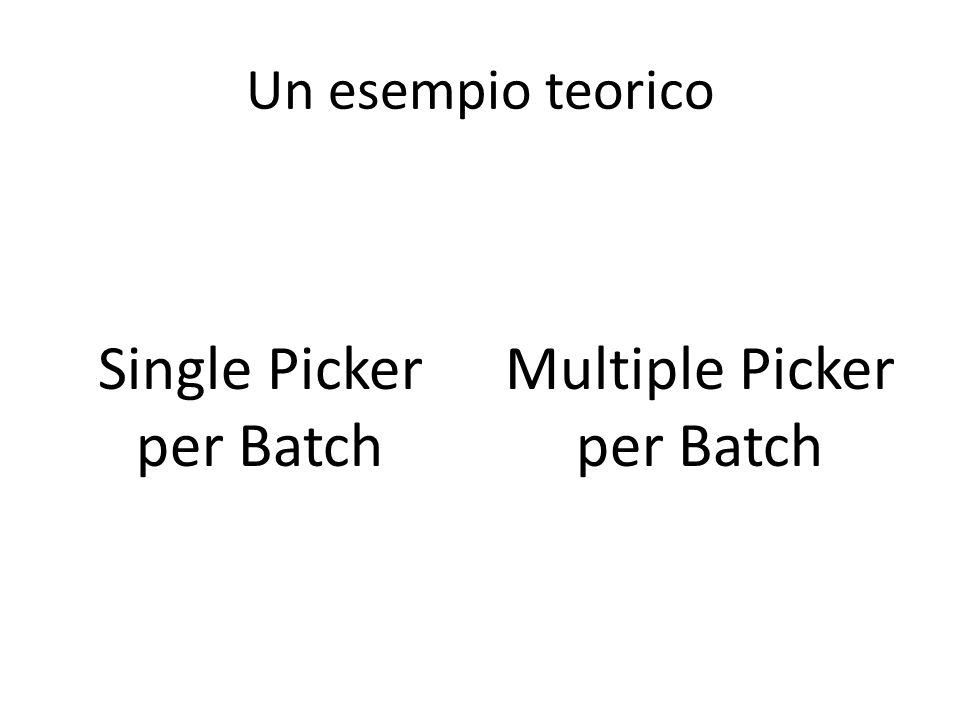 Un esempio teorico Single Picker per Batch Multiple Picker per Batch