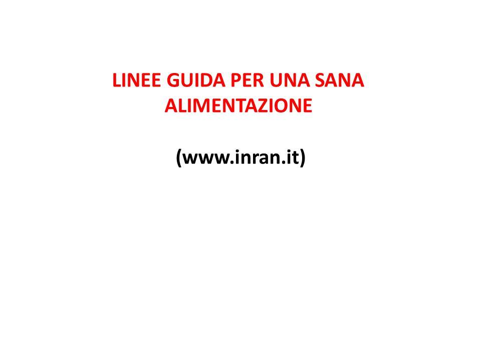 LINEE GUIDA PER UNA SANA ALIMENTAZIONE (www.inran.it)
