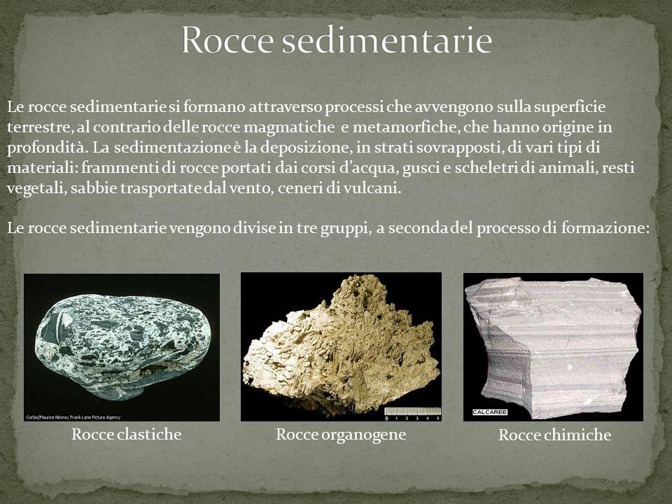 Le rocce sedimentarie si formano attraverso processi che avvengono sulla superficie terrestre, al contrario delle rocce magmatiche e metamorfiche, che