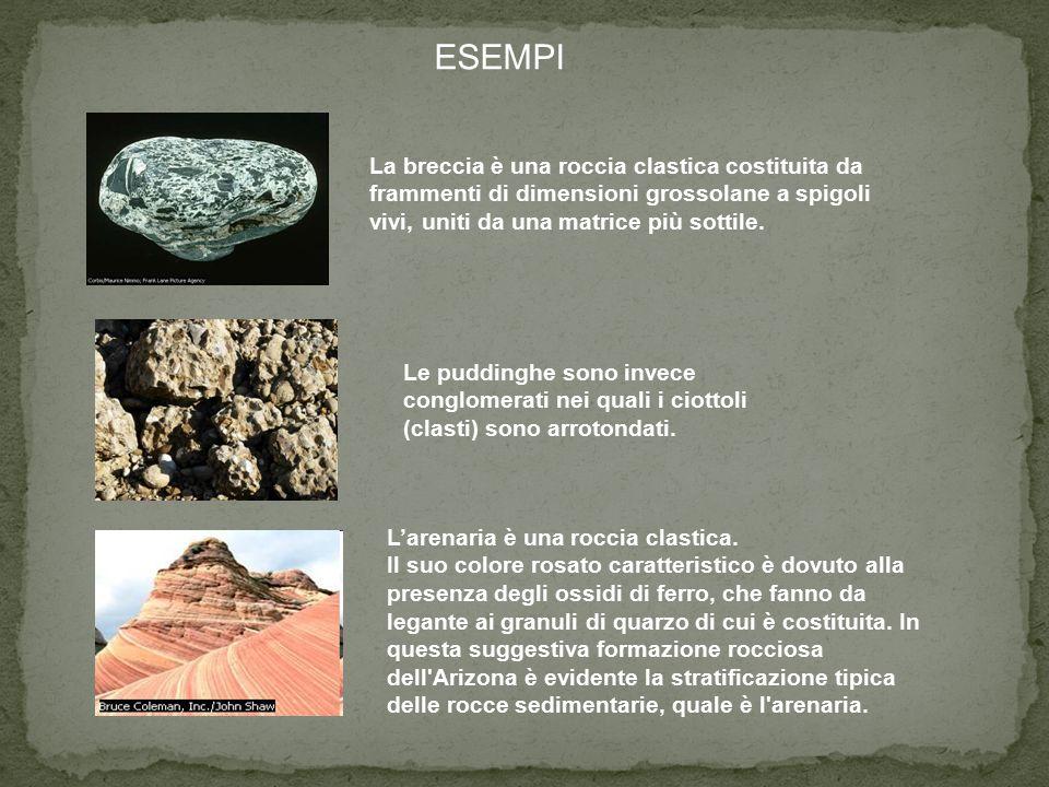 ESEMPI La breccia è una roccia clastica costituita da frammenti di dimensioni grossolane a spigoli vivi, uniti da una matrice più sottile. L'arenaria