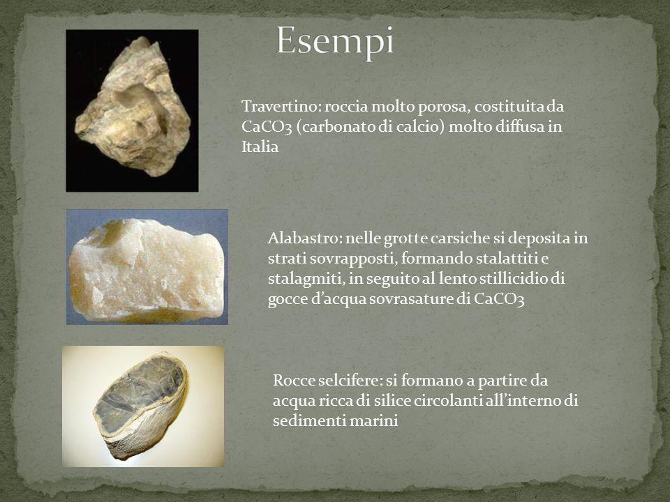 Travertino: roccia molto porosa, costituita da CaCO3 (carbonato di calcio) molto diffusa in Italia Alabastro: nelle grotte carsiche si deposita in str