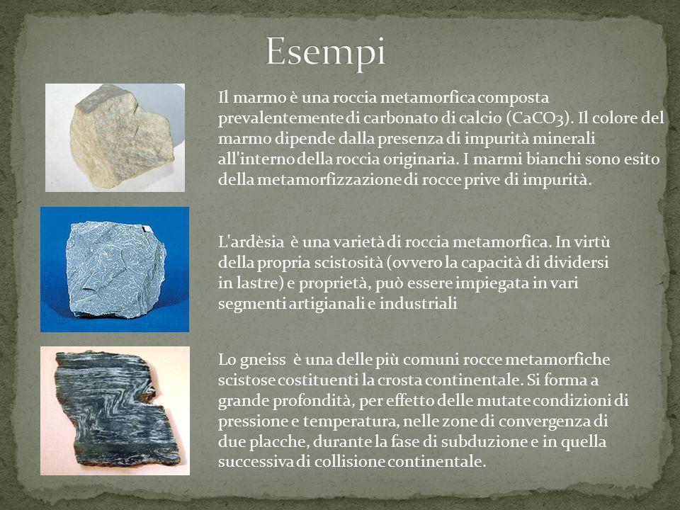 Il marmo è una roccia metamorfica composta prevalentemente di carbonato di calcio (CaCO3). Il colore del marmo dipende dalla presenza di impurità mine