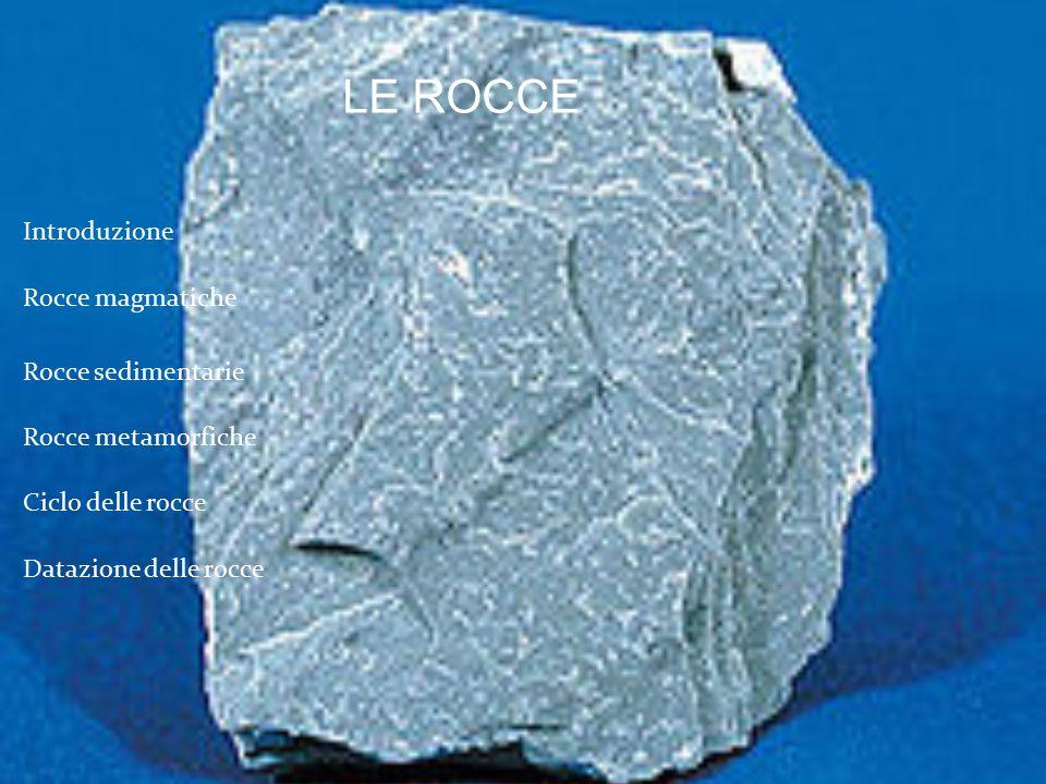 Introduzione Ciclo delle rocce Rocce magmatiche Rocce sedimentarie Rocce metamorfiche Datazione delle rocce LE ROCCE