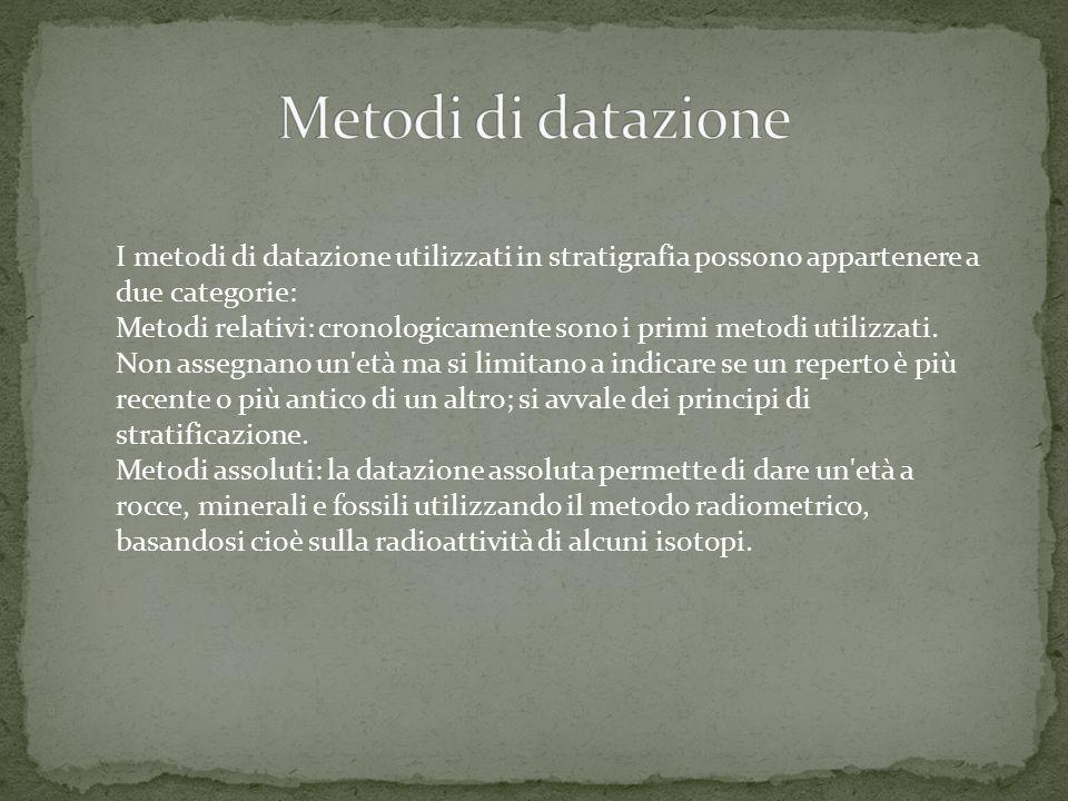 I metodi di datazione utilizzati in stratigrafia possono appartenere a due categorie: Metodi relativi: cronologicamente sono i primi metodi utilizzati