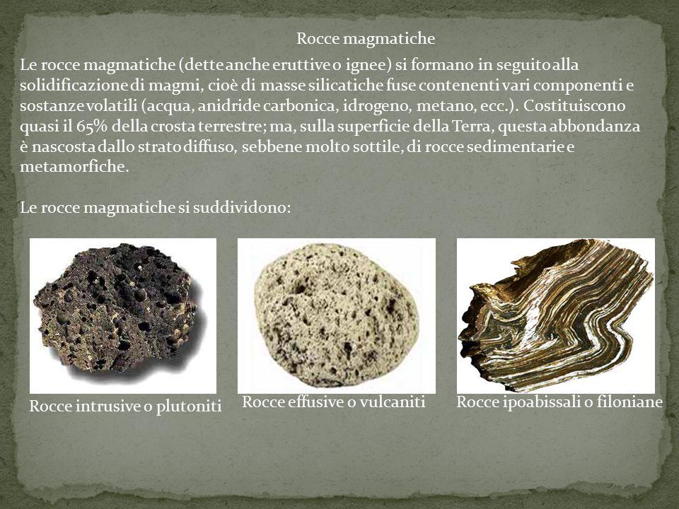 Rocce magmatiche Le rocce magmatiche (dette anche eruttive o ignee) si formano in seguito alla solidificazione di magmi, cioè di masse silicatiche fus