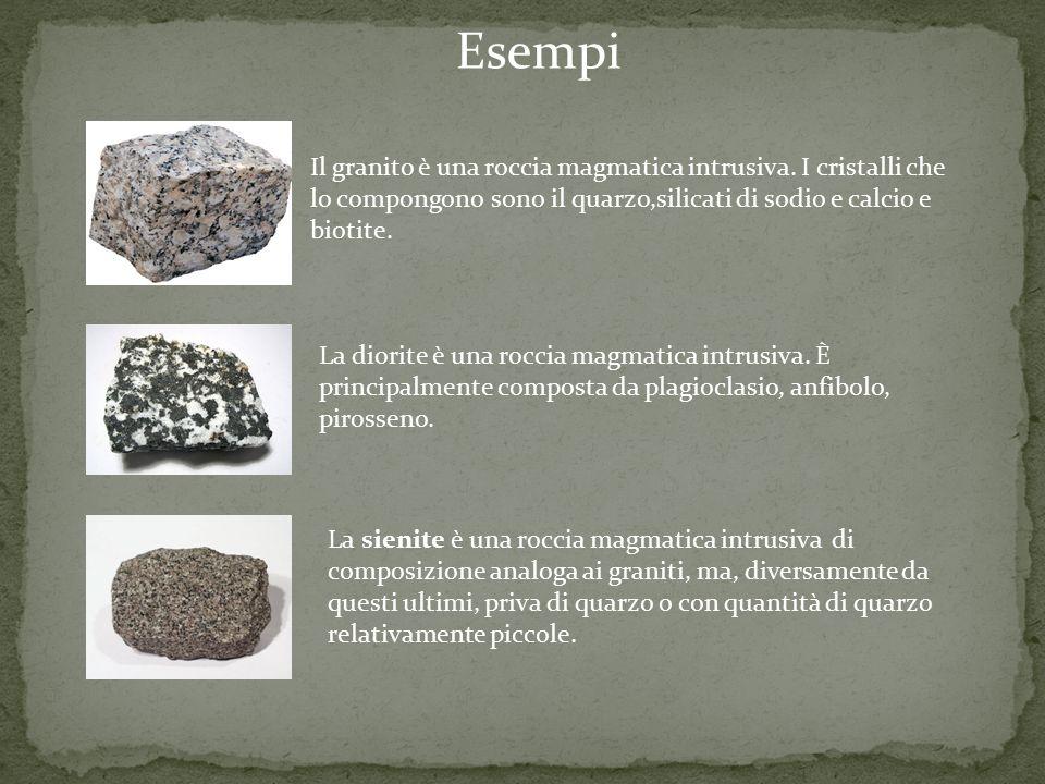 Il granito è una roccia magmatica intrusiva. I cristalli che lo compongono sono il quarzo,silicati di sodio e calcio e biotite. La diorite è una rocci