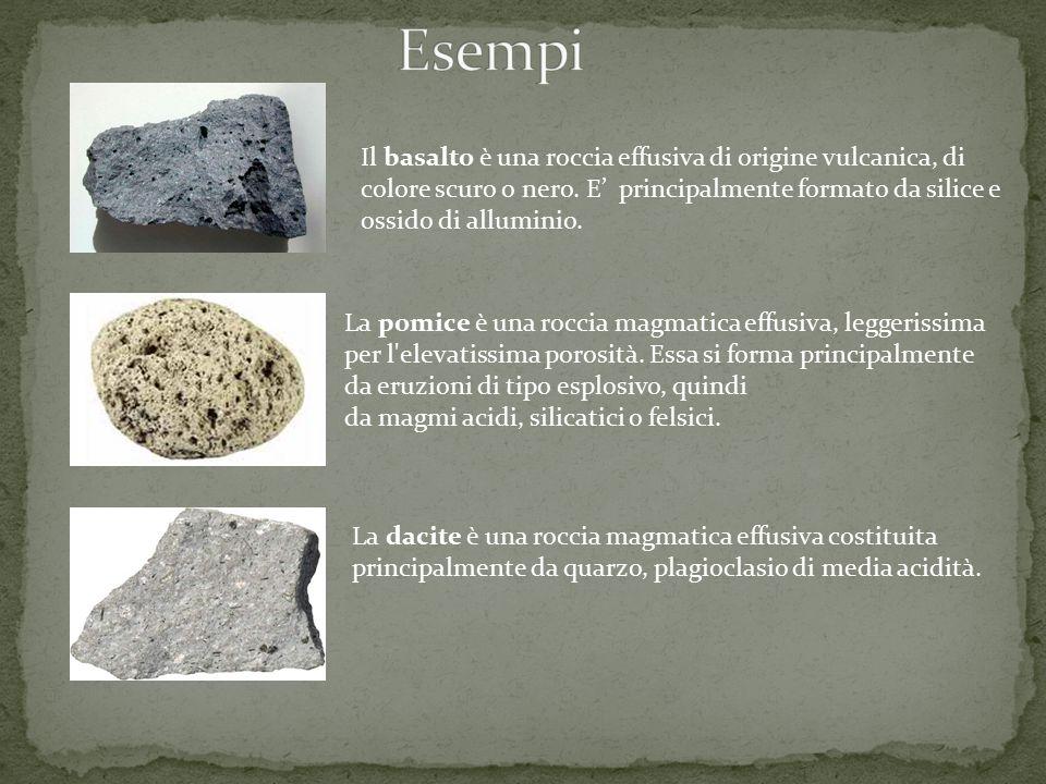 Il basalto è una roccia effusiva di origine vulcanica, di colore scuro o nero. E' principalmente formato da silice e ossido di alluminio. La pomice è