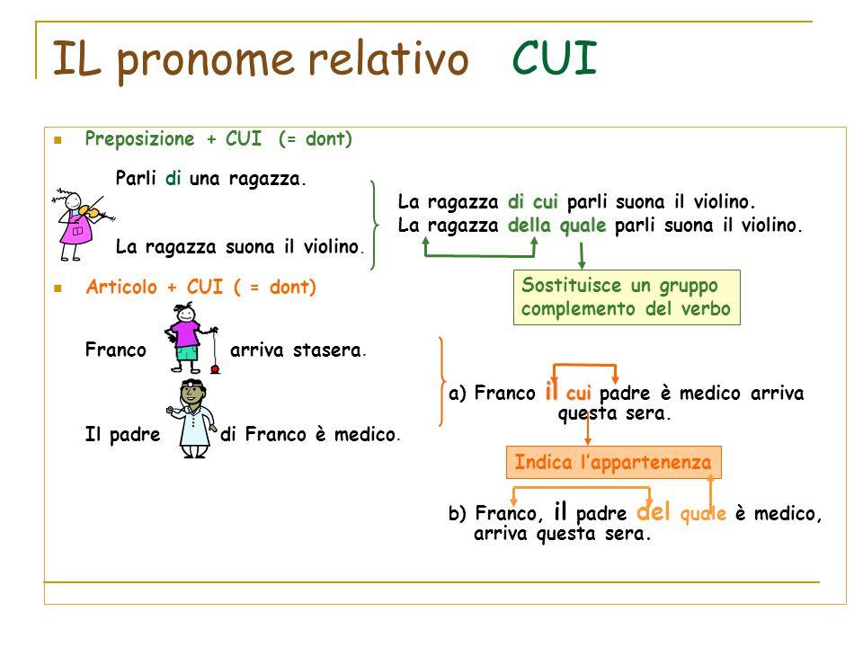 IL pronome relativo CUI Preposizione + CUI (= dont) Parli di una ragazza. di cui La ragazza di cui parli suona il violino. della quale La ragazza dell
