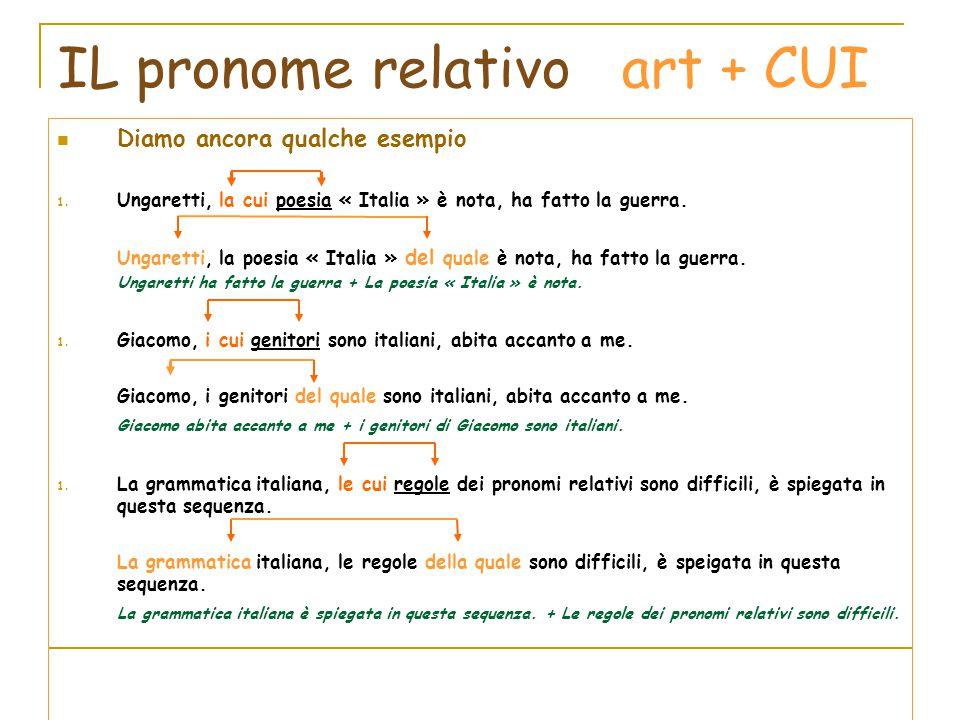 IL pronome relativo art + CUI Diamo ancora qualche esempio 1. Ungaretti, la cui poesia « Italia » è nota, ha fatto la guerra. Ungaretti, la poesia « I