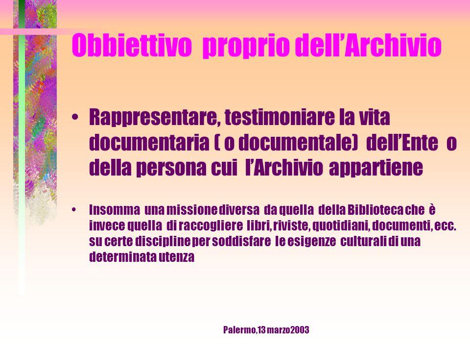 Palermo,13 marzo2003 DOCUMENTO In archivistica la parola documento si riferisce a tutto quello che viene conservato in Archivio ( es.