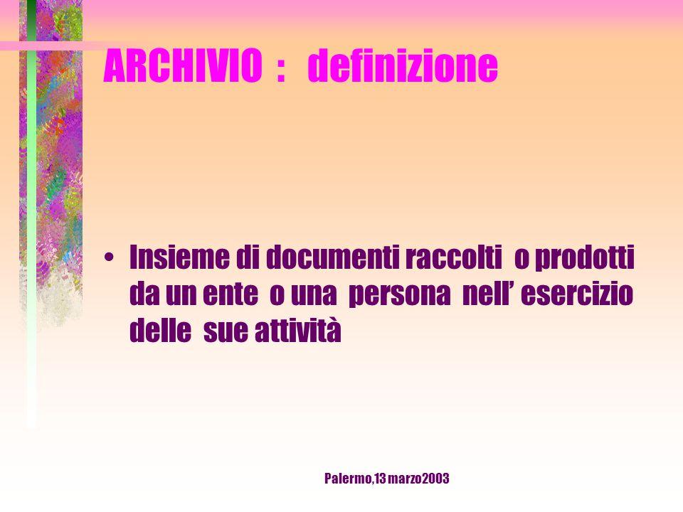 Palermo,13 marzo2003 ARCHIVISTICA ELEMENTARE Corso di formazione per ARCHIVISTI SINDACALI USR - CISL DELLA SICILIA Relatore : Ivo Camerini