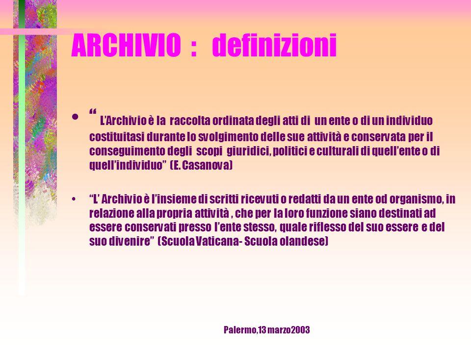 Palermo,13 marzo2003 ARCHIVIO : definizione Insieme di documenti raccolti o prodotti da un ente o una persona nell' esercizio delle sue attività