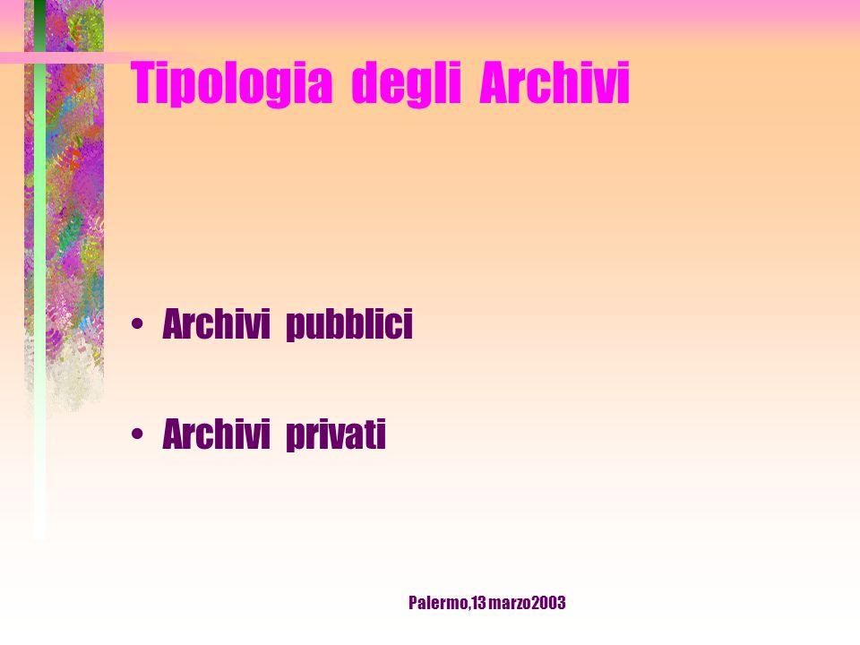 Palermo,13 marzo2003 ARCHIVIO Archivio corrente Archivio di deposito Archivio storico