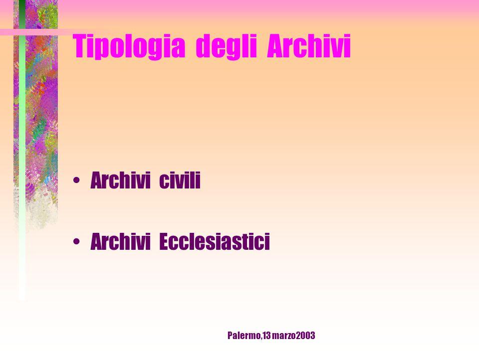 Palermo,13 marzo2003 Tipologia degli Archivi Archivi pubblici Archivi privati