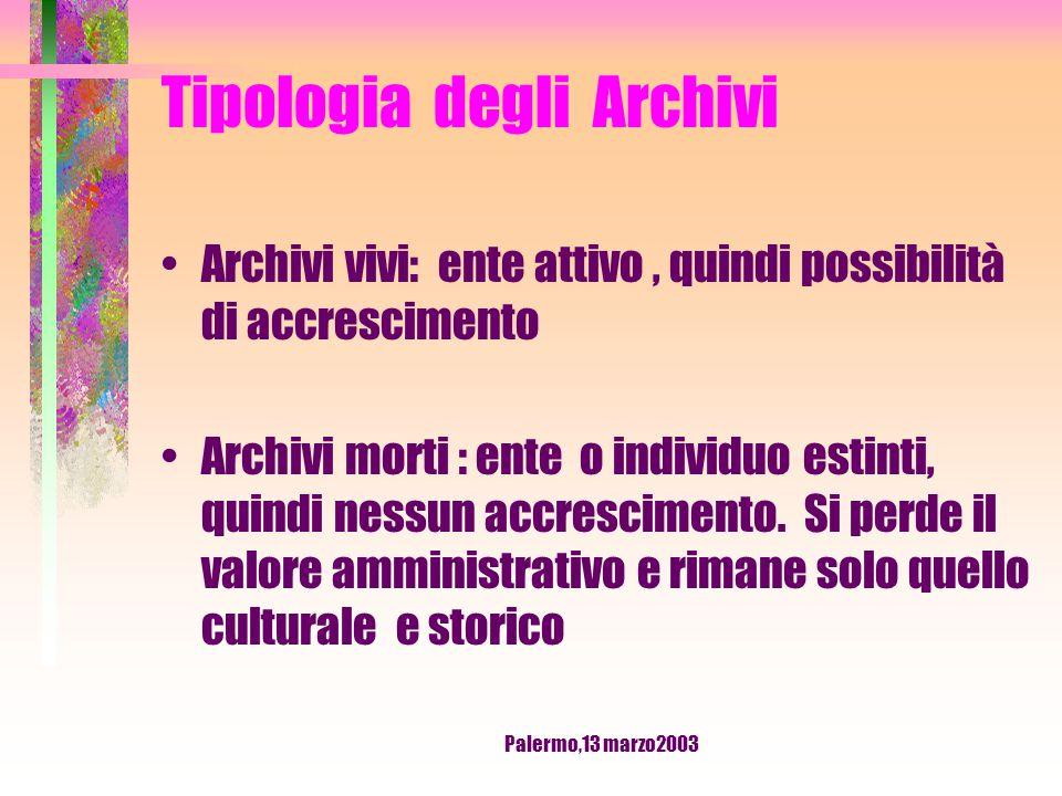 Palermo,13 marzo2003 Tipologia degli Archivi Archivi civili Archivi Ecclesiastici