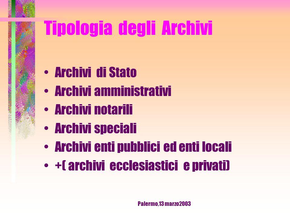 Palermo,13 marzo2003 Tipologia degli Archivi Archivi vivi: ente attivo, quindi possibilità di accrescimento Archivi morti : ente o individuo estinti, quindi nessun accrescimento.