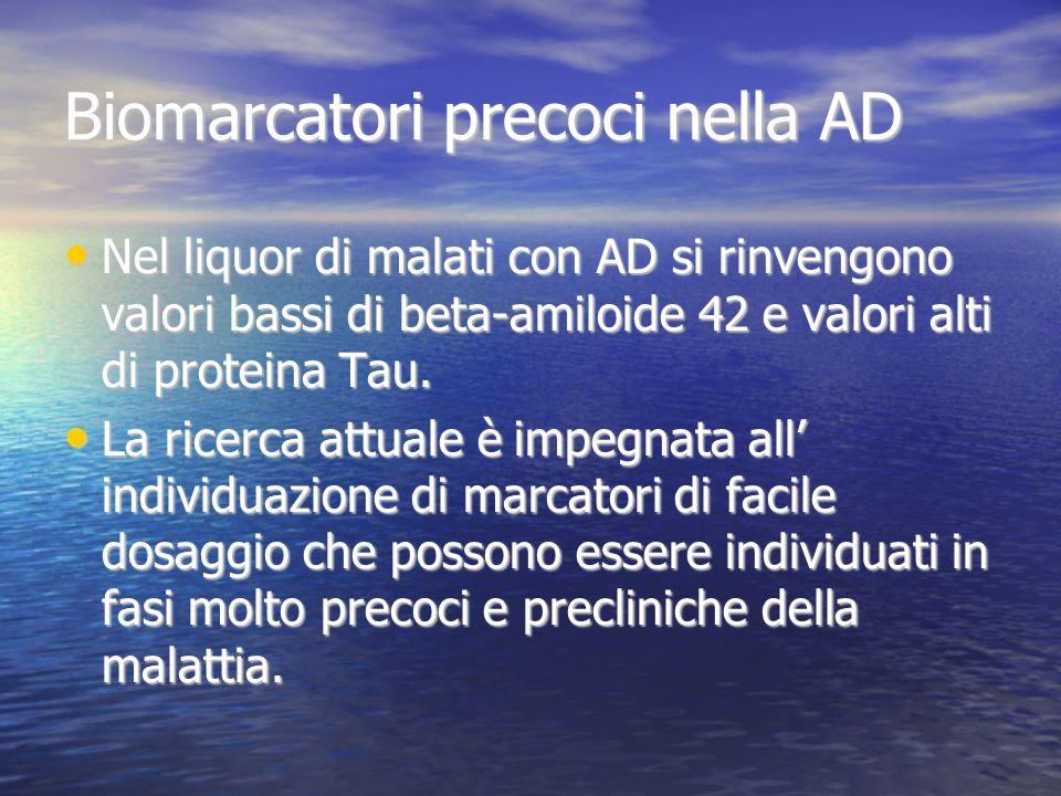 Biomarcatori precoci nella AD Nel liquor di malati con AD si rinvengono valori bassi di beta-amiloide 42 e valori alti di proteina Tau. Nel liquor di