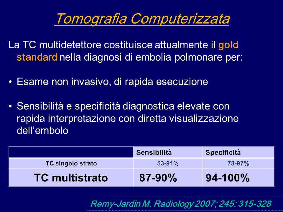 La TC multidetettore costituisce attualmente il gold standard nella diagnosi di embolia polmonare per: Esame non invasivo, di rapida esecuzione Sensibilità e specificità diagnostica elevate con rapida interpretazione con diretta visualizzazione dell'embolo Remy-Jardin M.