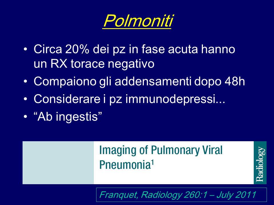 Polmoniti Circa 20% dei pz in fase acuta hanno un RX torace negativo Compaiono gli addensamenti dopo 48h Considerare i pz immunodepressi...