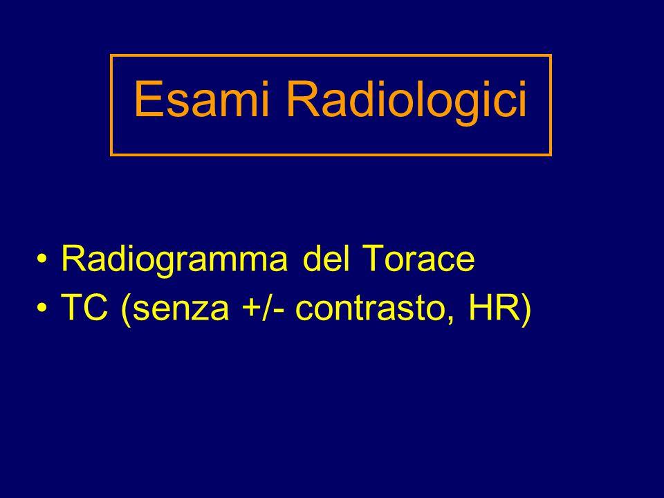 Radiogramma del Torace TC (senza +/- contrasto, HR) Esami Radiologici