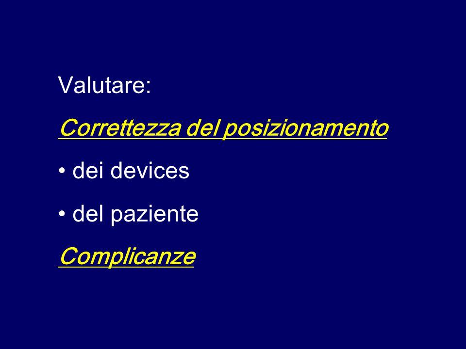 Valutare: Correttezza del posizionamento dei devices del paziente Complicanze