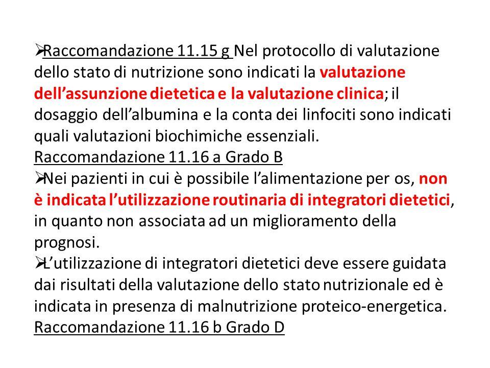  Raccomandazione 11.15 g Nel protocollo di valutazione dello stato di nutrizione sono indicati la valutazione dell'assunzione dietetica e la valutazione clinica; il dosaggio dell'albumina e la conta dei linfociti sono indicati quali valutazioni biochimiche essenziali.