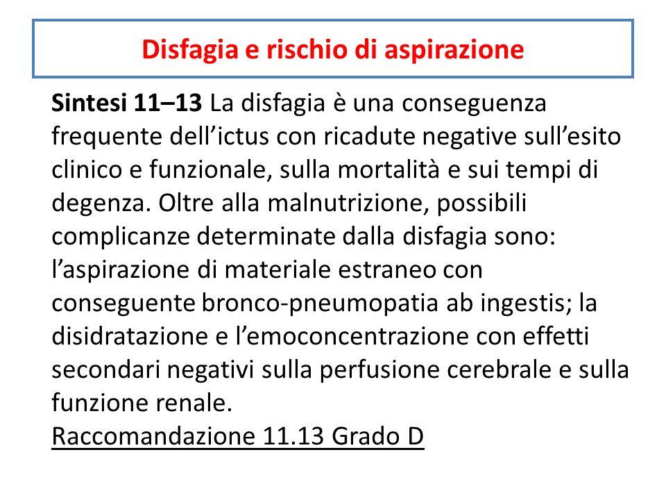 Sintesi 11–13 La disfagia è una conseguenza frequente dell'ictus con ricadute negative sull'esito clinico e funzionale, sulla mortalità e sui tempi di degenza.