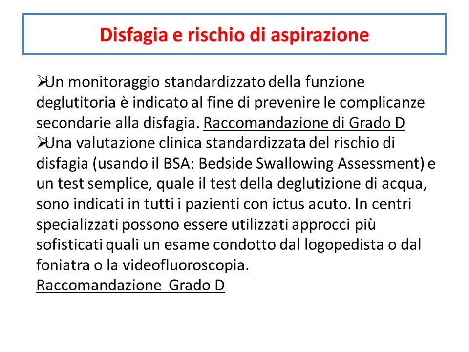  Un monitoraggio standardizzato della funzione deglutitoria è indicato al fine di prevenire le complicanze secondarie alla disfagia.