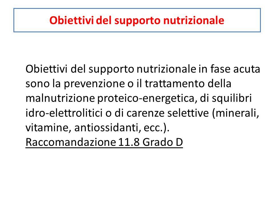 Obiettivi del supporto nutrizionale Obiettivi del supporto nutrizionale in fase acuta sono la prevenzione o il trattamento della malnutrizione proteico-energetica, di squilibri idro-elettrolitici o di carenze selettive (minerali, vitamine, antiossidanti, ecc.).