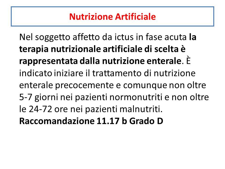 Nel soggetto affetto da ictus in fase acuta la terapia nutrizionale artificiale di scelta è rappresentata dalla nutrizione enterale.