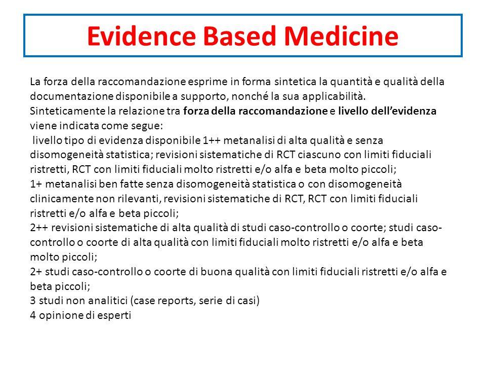 Evidence Based Medicine La forza della raccomandazione esprime in forma sintetica la quantità e qualità della documentazione disponibile a supporto, nonché la sua applicabilità.