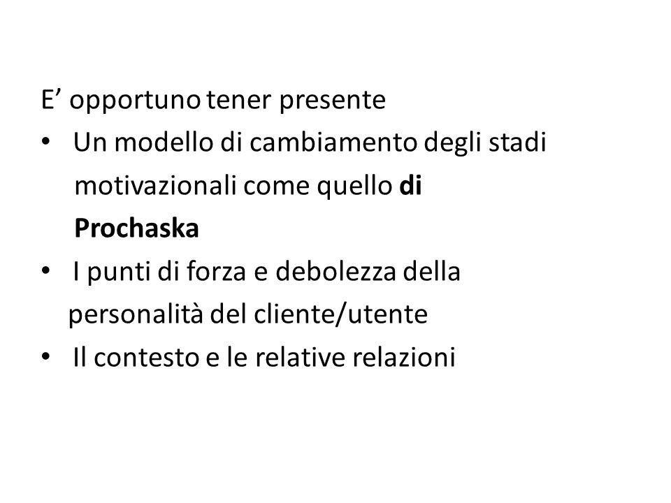 E' opportuno tener presente Un modello di cambiamento degli stadi motivazionali come quello di Prochaska I punti di forza e debolezza della personalità del cliente/utente Il contesto e le relative relazioni