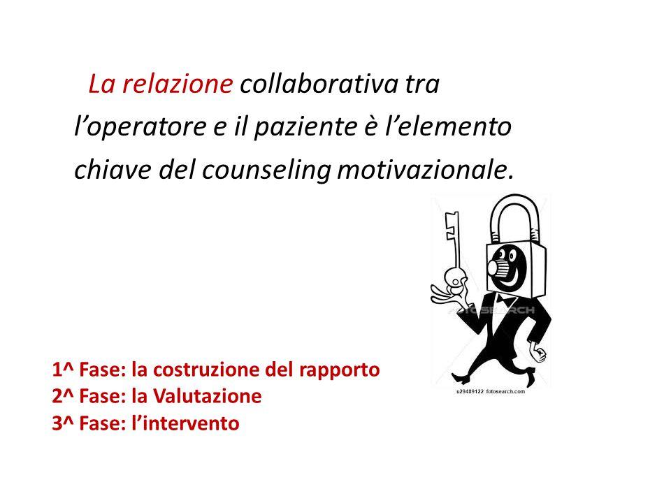 La relazione collaborativa tra l'operatore e il paziente è l'elemento chiave del counseling motivazionale.