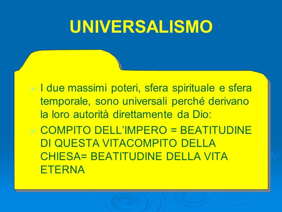 UNIVERSALISMO   I due massimi poteri, sfera spirituale e sfera temporale, sono universali perché derivano la loro autorità direttamente da Dio:   COMPITO DELL'IMPERO = BEATITUDINE DI QUESTA VITACOMPITO DELLA CHIESA= BEATITUDINE DELLA VITA ETERNA   I due massimi poteri, sfera spirituale e sfera temporale, sono universali perché derivano la loro autorità direttamente da Dio:   COMPITO DELL'IMPERO = BEATITUDINE DI QUESTA VITACOMPITO DELLA CHIESA= BEATITUDINE DELLA VITA ETERNA