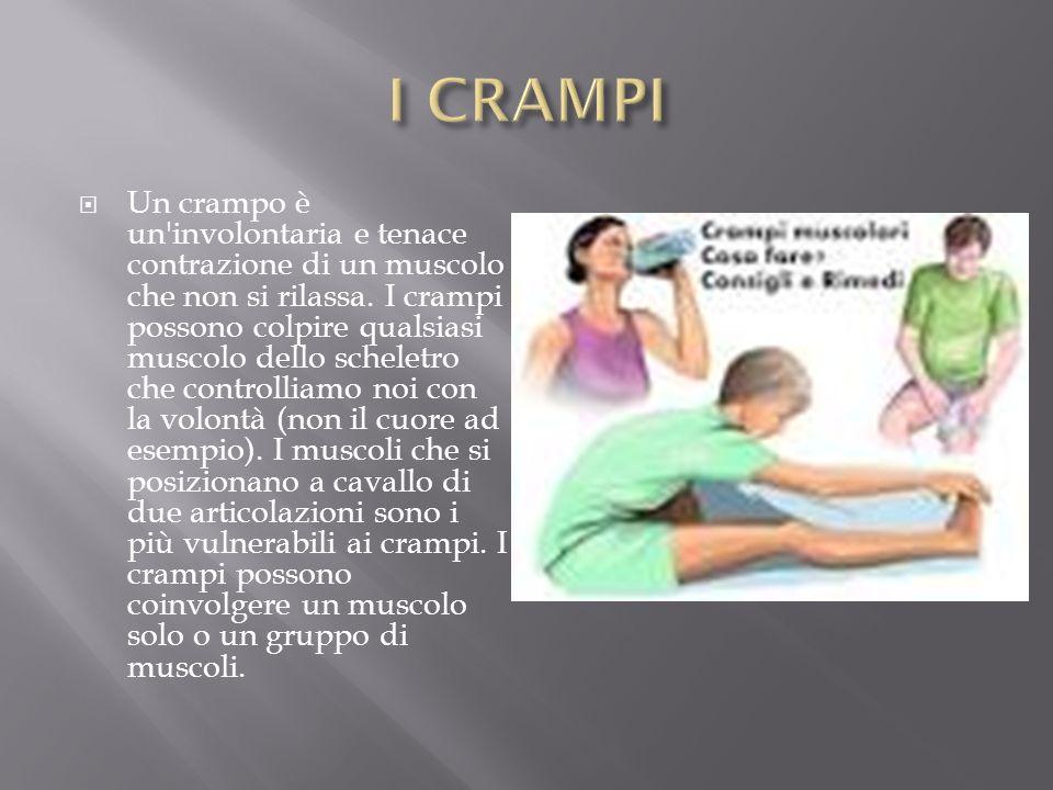  Un crampo è un'involontaria e tenace contrazione di un muscolo che non si rilassa. I crampi possono colpire qualsiasi muscolo dello scheletro che co
