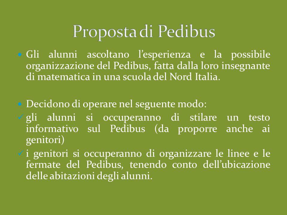 Gli alunni ascoltano l'esperienza e la possibile organizzazione del Pedibus, fatta dalla loro insegnante di matematica in una scuola del Nord Italia.