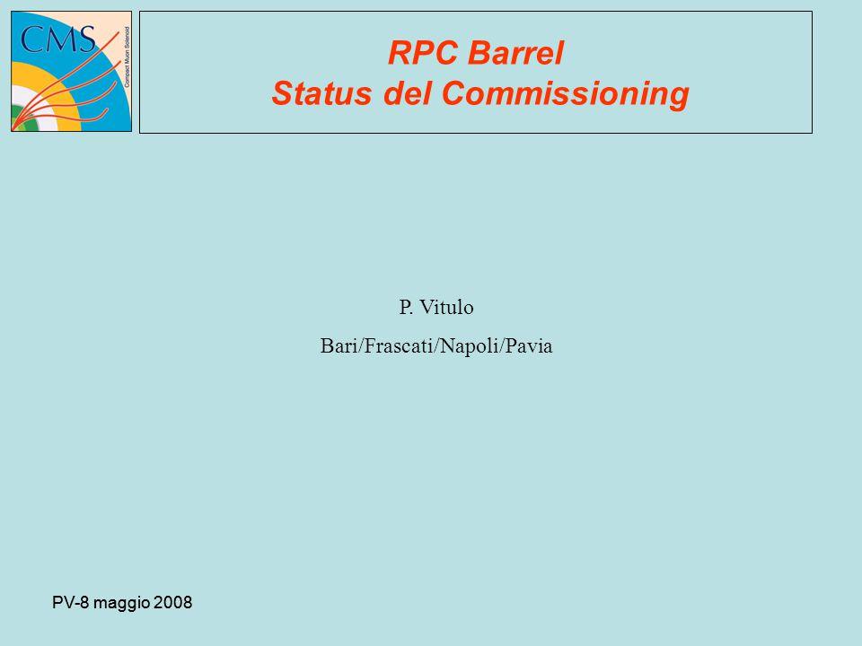 PV-8 maggio 2008 RPC Barrel Status del Commissioning P. Vitulo Bari/Frascati/Napoli/Pavia