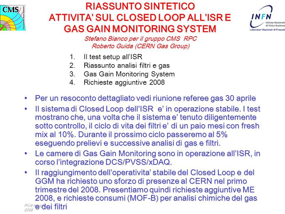 PV-8 maggio 2008 RIASSUNTO SINTETICO ATTIVITA' SUL CLOSED LOOP ALL'ISR E GAS GAIN MONITORING SYSTEM Stefano Bianco per il gruppo CMS RPC Roberto Guida