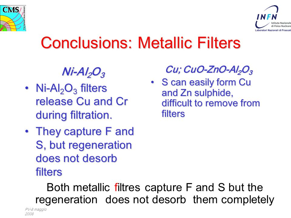 PV-8 maggio 2008 Conclusions: Metallic Filters Ni-Al 2 O 3 Ni-Al 2 O 3 filters release Cu and Cr during filtration.Ni-Al 2 O 3 filters release Cu and