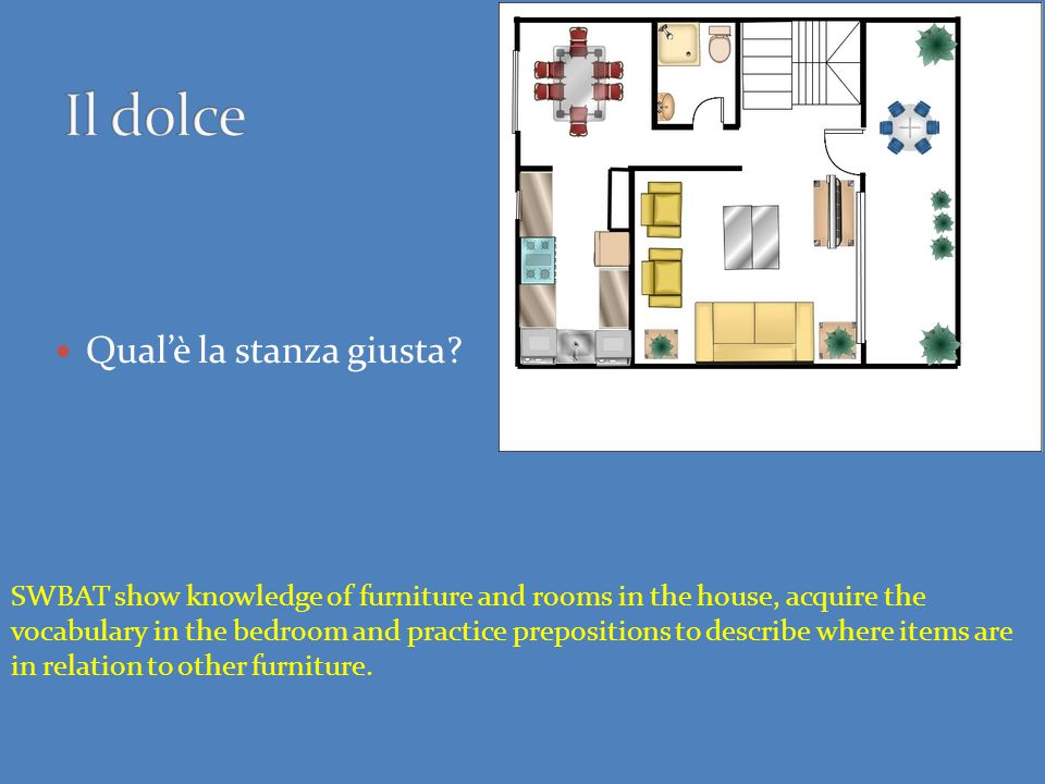 Qual'è la stanza giusta? SWBAT show knowledge of furniture and rooms in the house, acquire the vocabulary in the bedroom and practice prepositions to