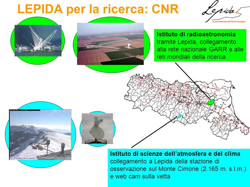 LEPIDA per la ricerca: CNR Istituto di radioastronomia tramite Lepida, collegamento alla rete nazionale GARR e alle reti mondiali della ricerca Istituto di scienze dell'atmosfera e del clima collegamento a Lepida della stazione di osservazione sul Monte Cimone (2.165 m.