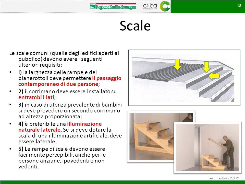 18 Scale Le scale comuni (quelle degli edifici aperti al pubblico) devono avere i seguenti ulteriori requisiti: l) la larghezza delle rampe e dei pian