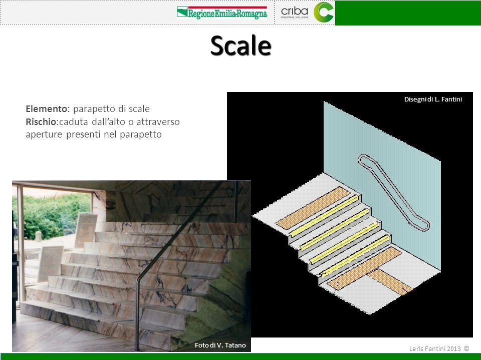 Elemento: parapetto di scale Rischio:caduta dall'alto o attraverso aperture presenti nel parapetto Scale Foto di V. Tatano Disegni di L. Fantini Leris